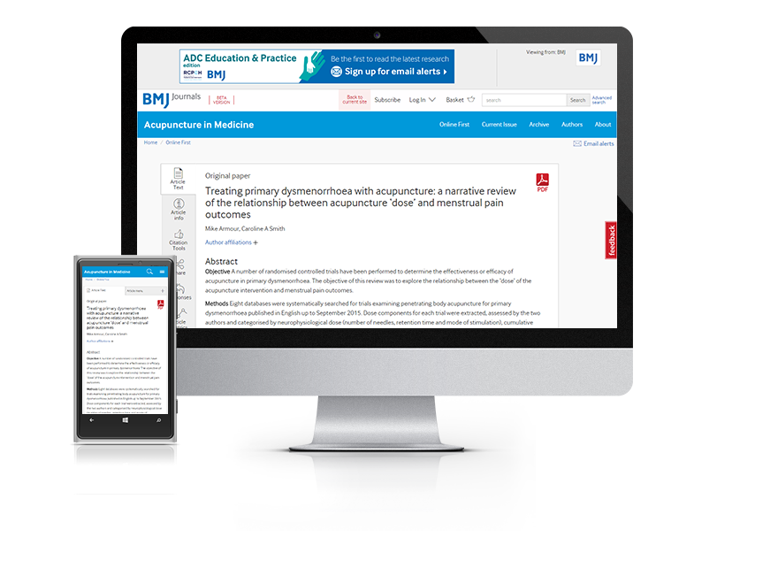 Desktop and mobile showing the AIM website and AIM journal cover