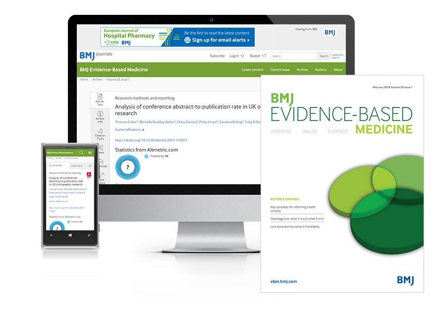 Desktop and mobile showing the EBM website and EBM journal cover