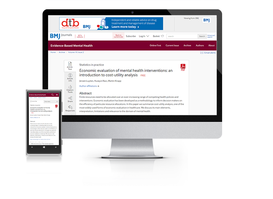 Desktop and mobile showing the EBMH website and EBMH journal cover