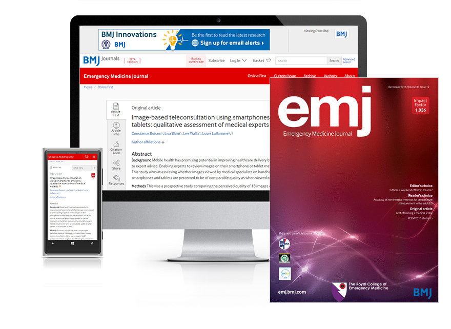 Desktop and mobile showing the EMJ website and EMJ journal cover