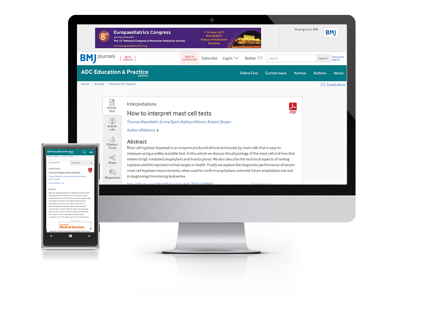 Desktop and mobile showing the ADC Education and Practice website and ADC Education and Practice journal cover
