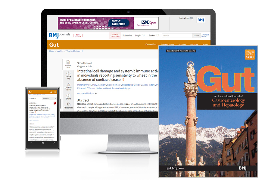 Desktop and mobile showing the GUT website and GUT journal cover