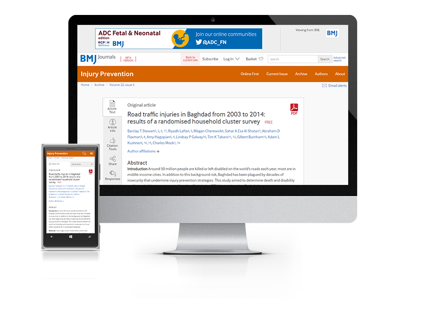 Desktop and mobile showing the Injury Prevention website and Injury Prevention journal cover
