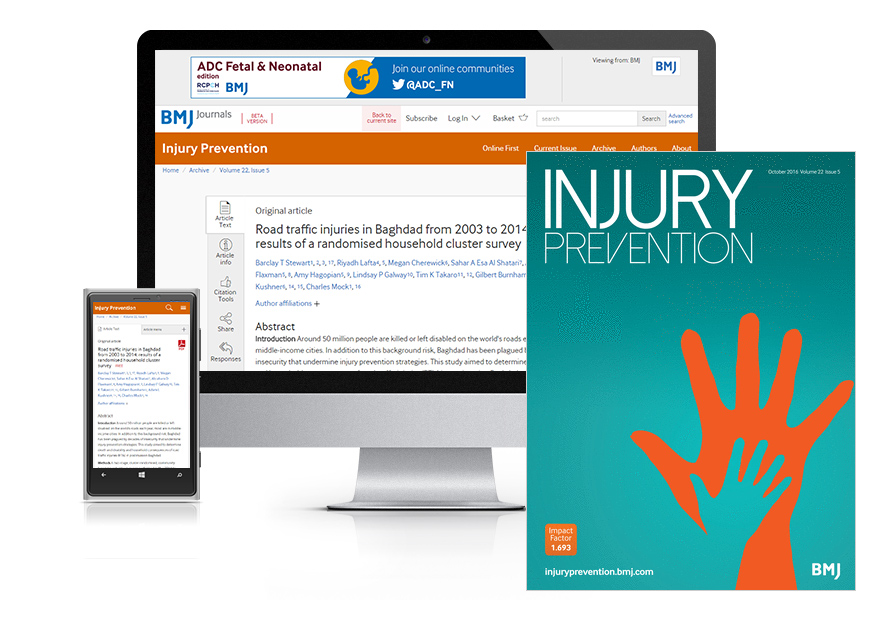Desktop and mobile showing the Injury Prevention website and JCP journal cover