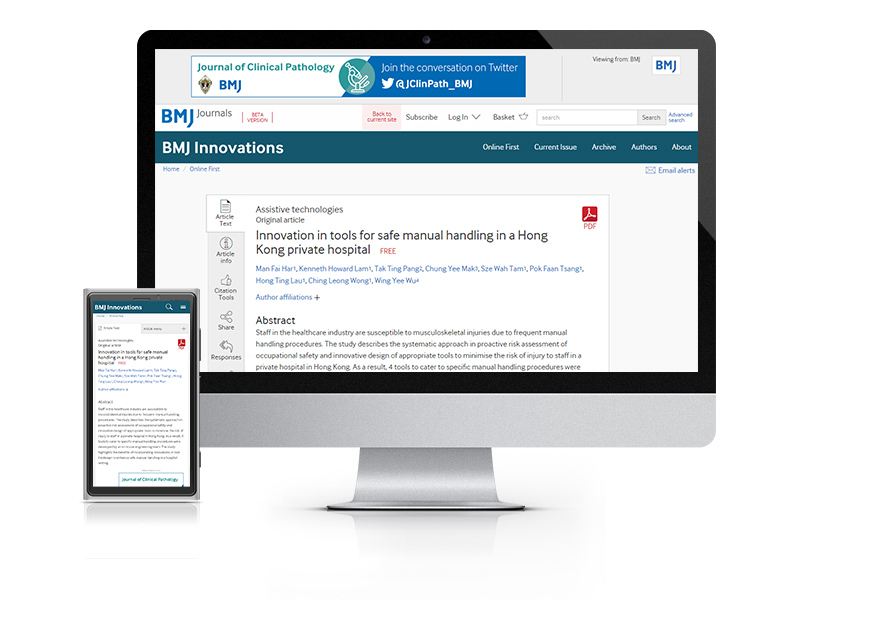 Desktop and mobile showing the BMJ Innovations website and BMJ Innovations journal cover