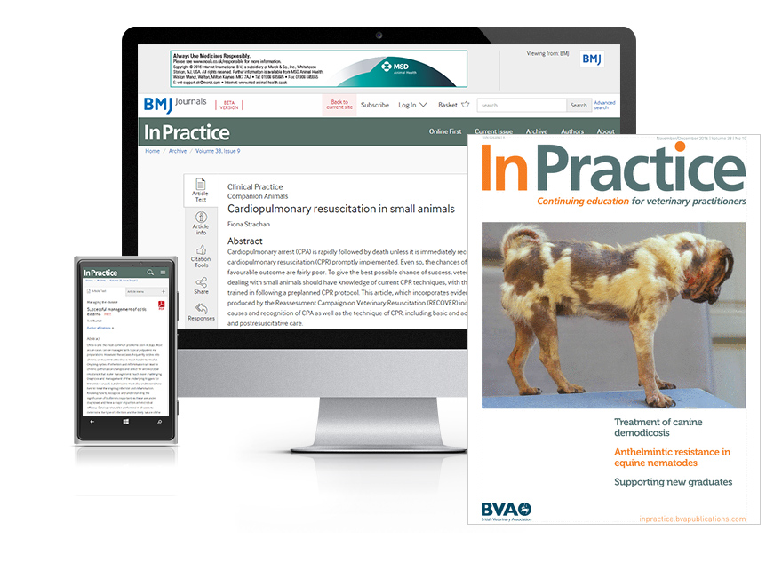 Desktop and mobile showing the Veterinary Record website and journal cover