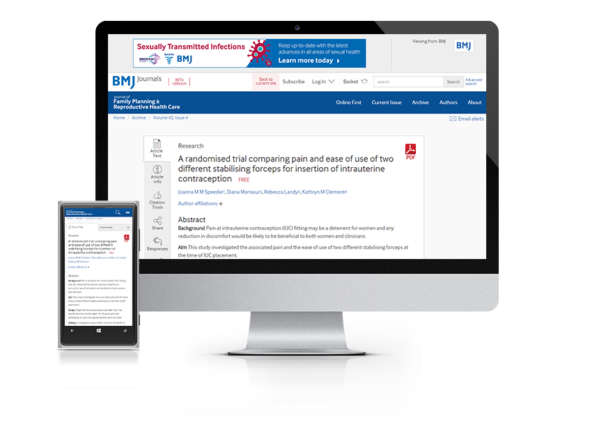 Desktop and mobile showing the JFPRHC website and JFPRHC journal cover