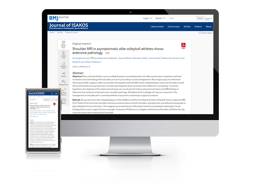 Desktop and mobile showing the Journal of ISAKOS website
