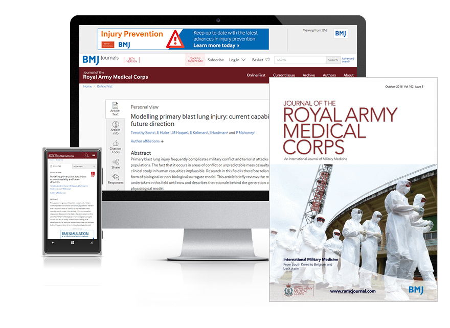 Desktop and mobile showing the JRAMC website and JRAMC journal cover