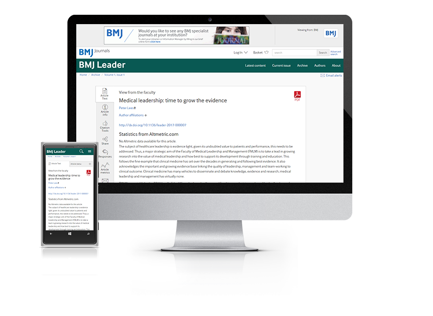 Desktop and mobile showing the BMJ Leader website and BMJ Leader journal cover