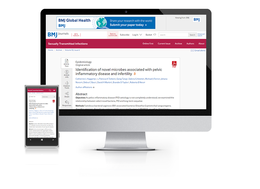 Desktop and mobile showing the STI website and STI journal cover