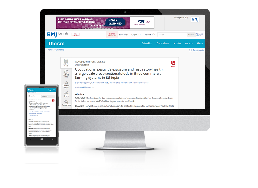 Desktop and mobile showing the Thorax website and Thorax journal cover