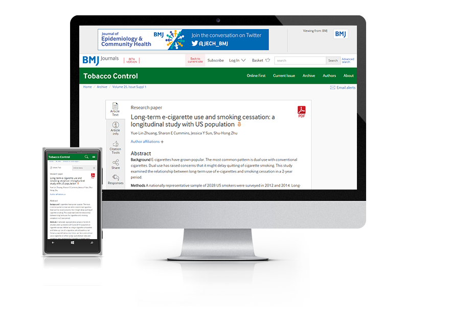 Desktop and mobile showing the Tobacco Control website and Tobacco Control journal cover