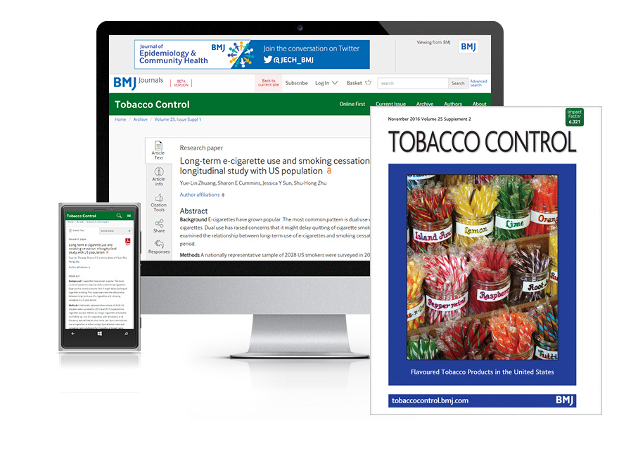 Desktop and mobile showing the Tobacco Control website and Thorax journal cover