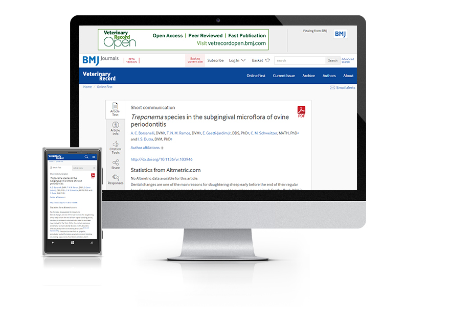 Desktop and mobile showing the Veterinary Record website