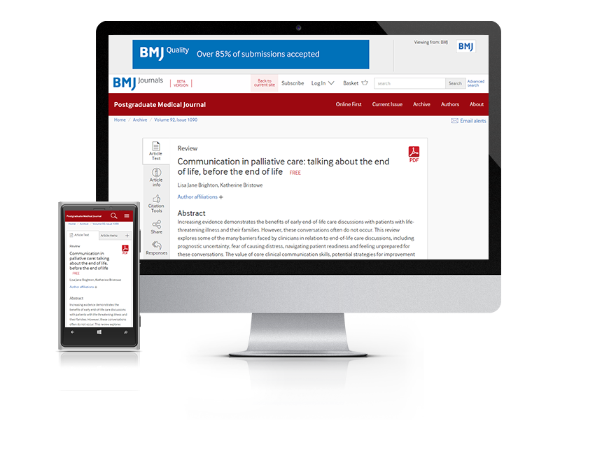 Subscribe your institution to the online version of Postgraduate Medical Journal (PMJ)