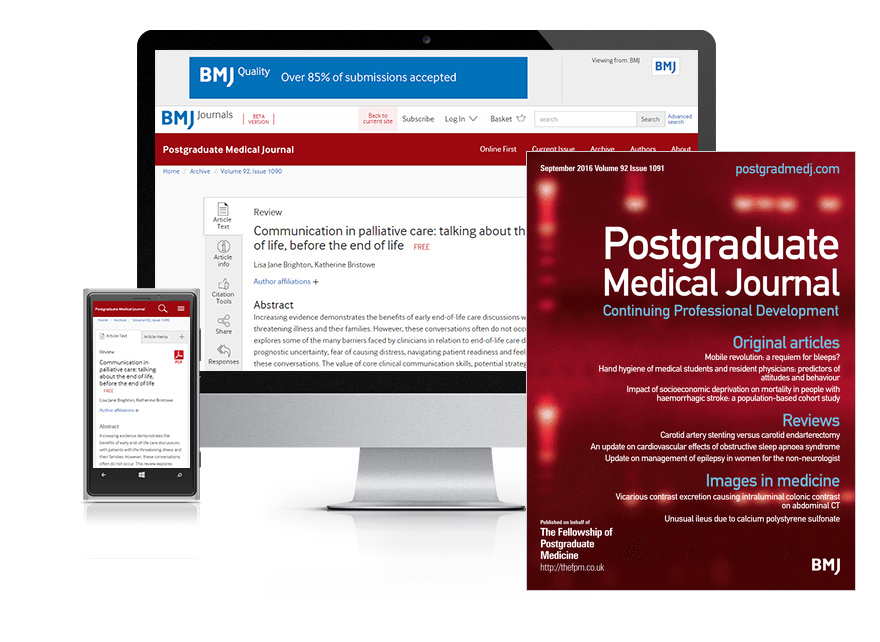 Desktop and mobile showing the PMJ website and PMJ journal cover