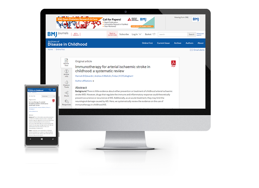 Subscribe your institution to the online version of Archives of Disease in Childhood (ADC)