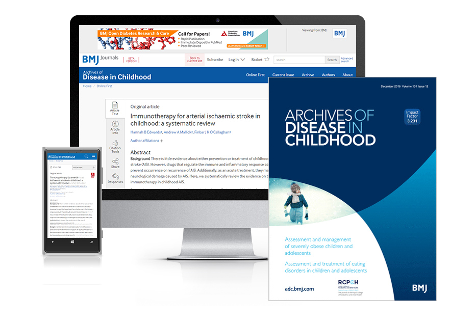 Subscribe your institution to the online and print version of Archives of Disease in Childhood (ADC)
