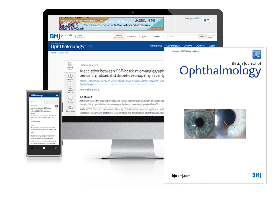 Desktop and mobile showing the BJO website and BJO journal cover