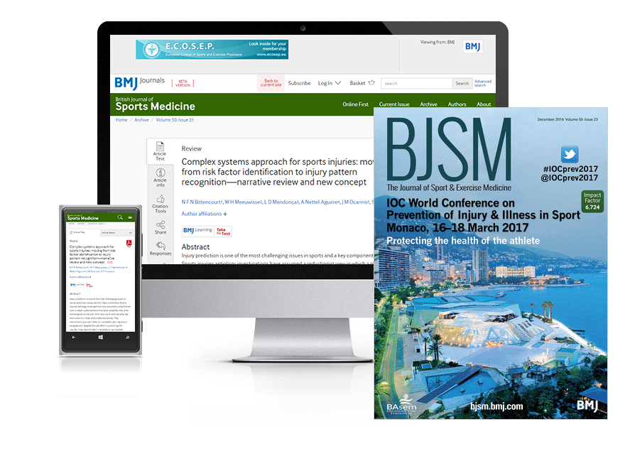 Desktop and mobile showing the BJSM website and BJSM journal cover