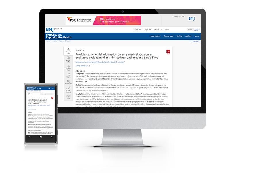 Desktop and mobile showing the BMJ SRH website