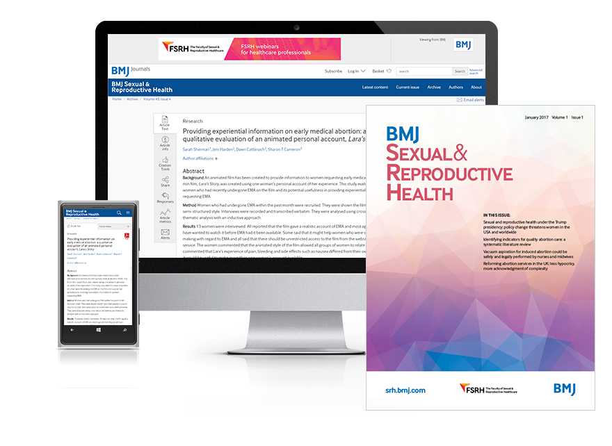 Desktop and mobile showing the BMJ SRH website and BMJ SRH journal cover