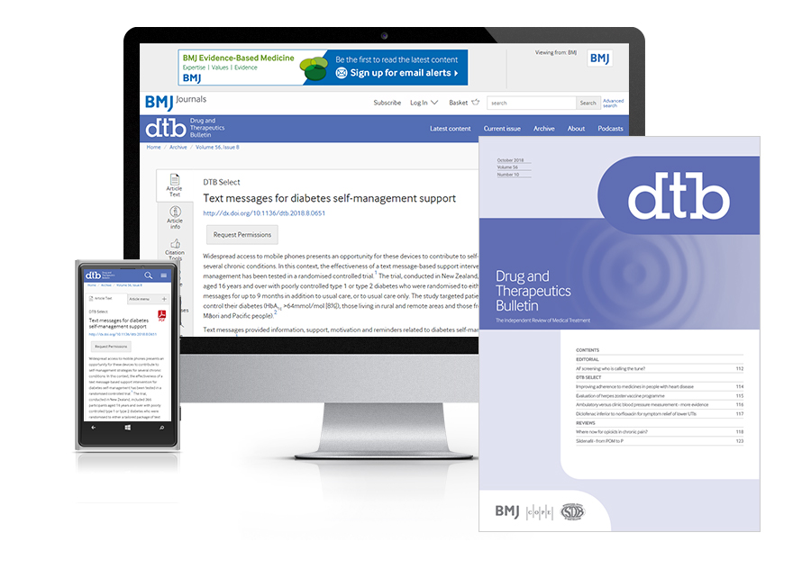 Subscribe your institution to the online & print versions of Drug and Therapeutics Bulletin (DTB)