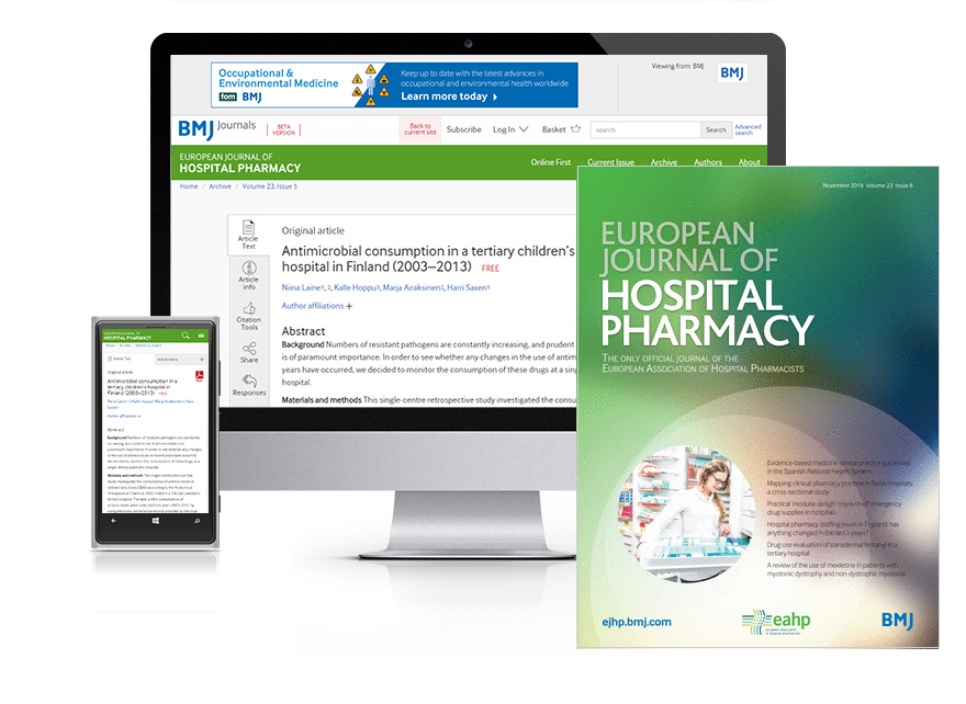 Desktop and mobile showing the EJHP website and EJHP journal cover