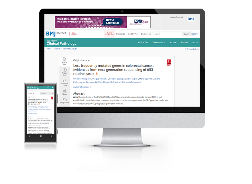 Subscribe your institution to the online version of Journal of Clinical Pathology (JCP)