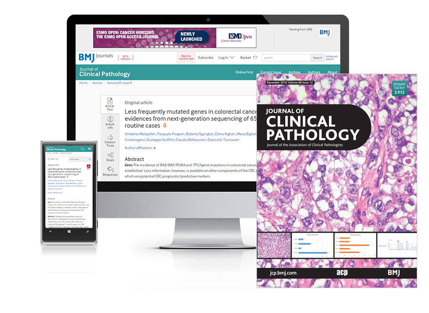 Subscribe your institution to the online & print versions of Journal of Clinical Pathology (JCP)