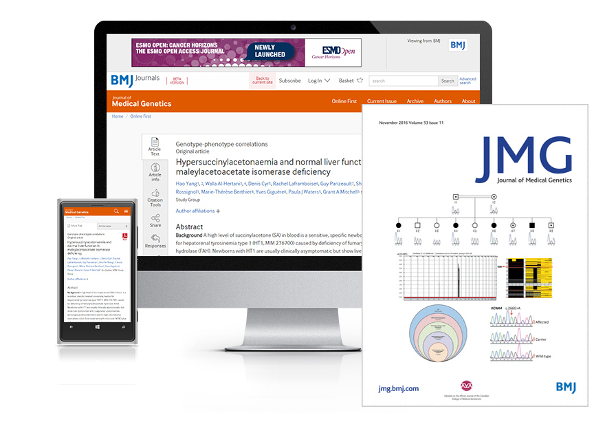 Desktop and mobile showing the JMG website and JMG journal cover