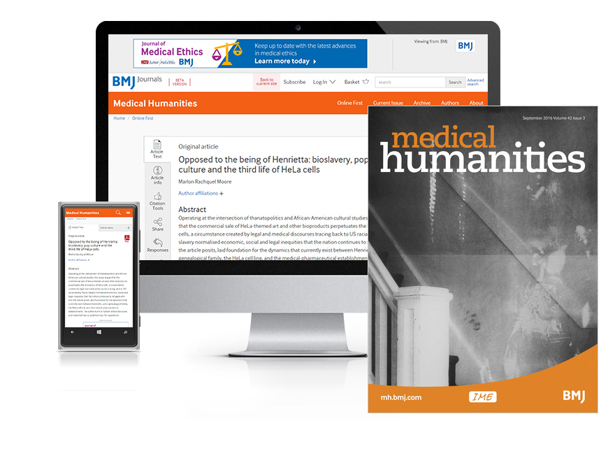 Subscribe your institution to the online and print versions of Medical Humanities (MH)
