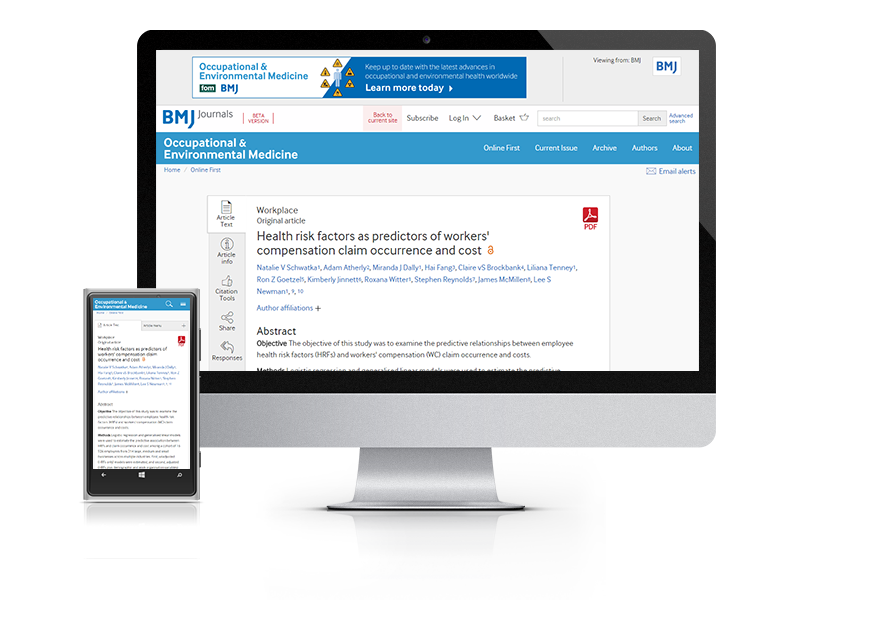 Subscribe your institution to the online version of Occupational and Environmental Medicine (OEM)