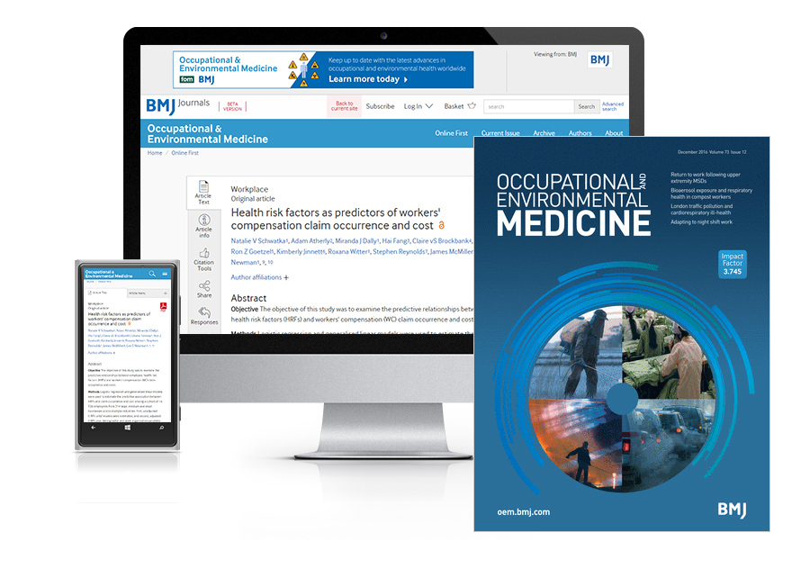Subscribe your institution to the online and print versions of Occupational and Environmental Medicine (OEM)