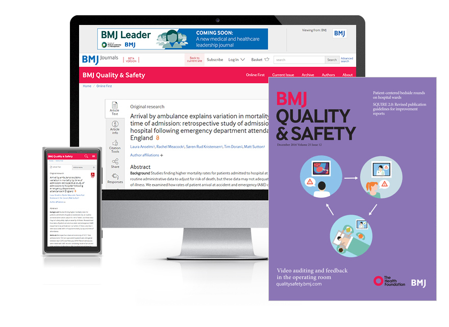 Subscribe your institution to the online and print versions of BMJ Quality & Safety