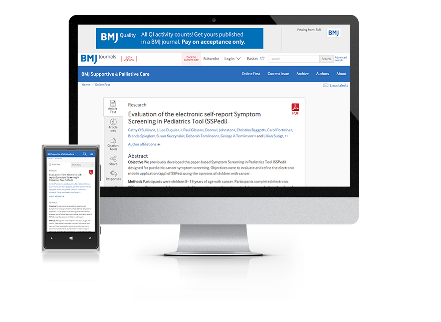 Subscribe your institution to the online version of BMJ Supportive & Palliative Care