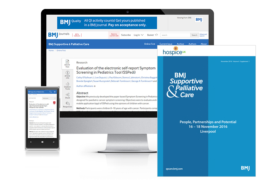 Desktop and mobile showing the SP Care website and SP Care journal cover