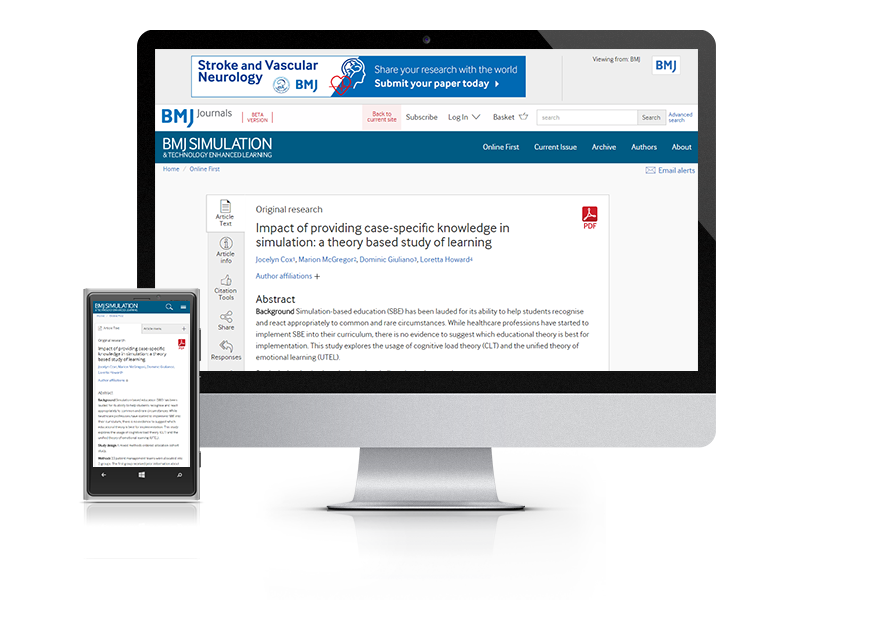Subscribe your institution to the online version of BMJ Simulation & Technology Enhanced Learning