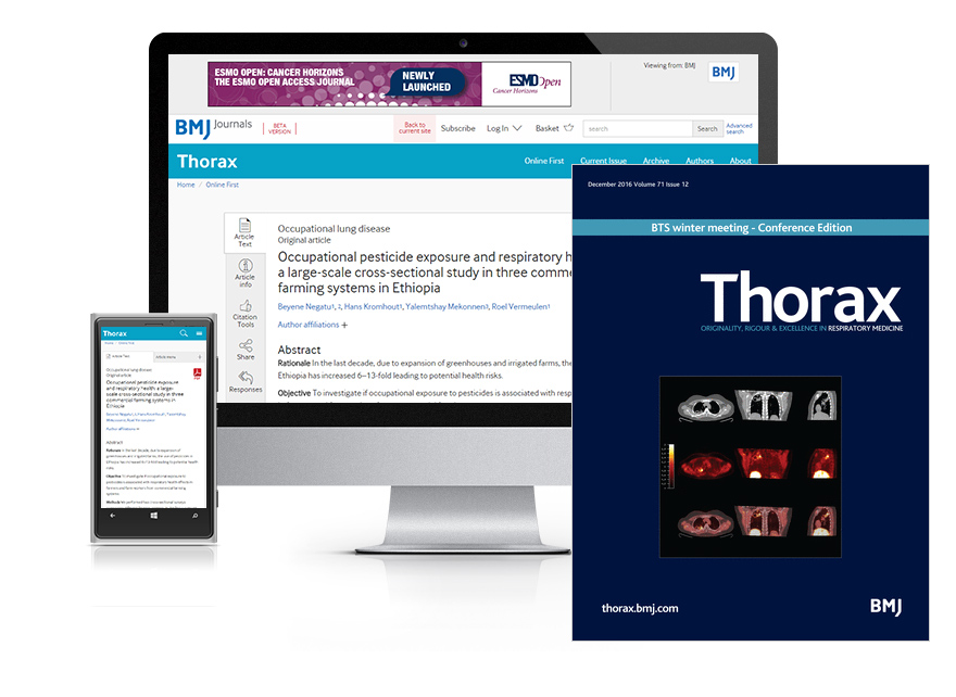 Subscribe your institution to the online and print versions of Thorax