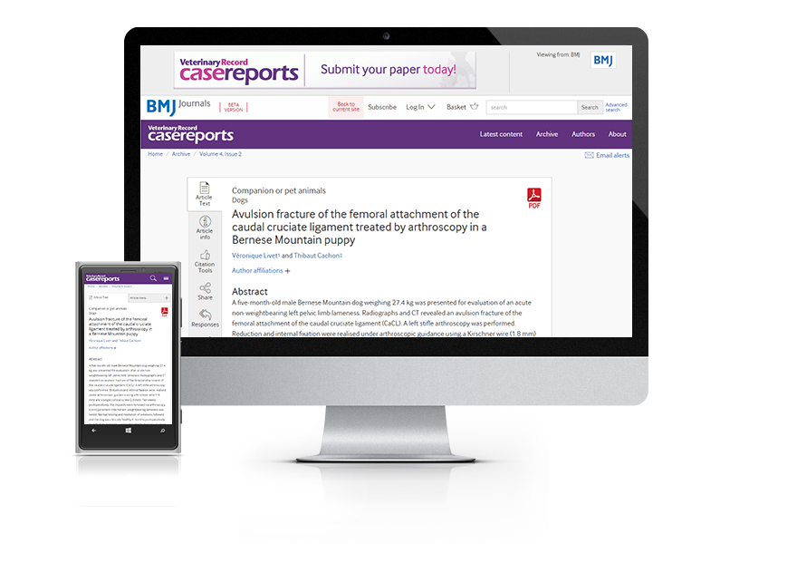 Desktop and mobile showing the Veterinary Record Case Reports website